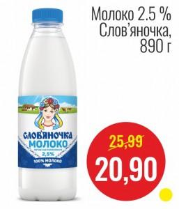 Молоко 2,5% Славяночка, 890 г